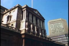 The City, financial district, London, 1976, Bank of England, London 1970's - stock footage