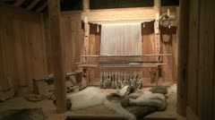 Greenland Eric's longhouse interior 2 Stock Footage