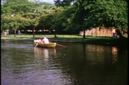 Parks of London, close up of rowboat on lake, 1976, London, England, 1970's Stock Footage