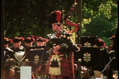 Parks of London, bagpiper and band, 1976, London, England, 1970's Stock Footage