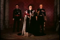 Tussad's Wax Museum, London, 1970's, Queen Elizabeth II, Prince Philip, Charles Stock Footage