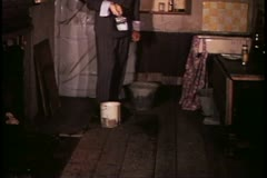 Madame Tussad's Wax Museum, London, 1970's, Christy with paint brush Stock Footage