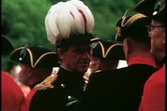 Face, military man in plumed hat, London, England, 1976, London 1970's Stock Footage