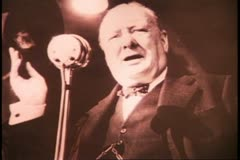 Churchill, still, before a microphone, black and white archival Stock Footage