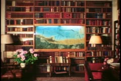 Chartwell, Sussex, England, Churchill's country home, library Stock Footage