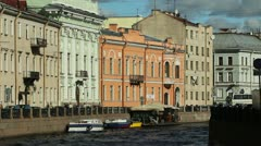 Historic houses along the Moika River, St. Petersburg, Russia Stock Footage