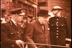 Stock Video Footage of Battle of Britain, Churchill inspects damage, black and white archival