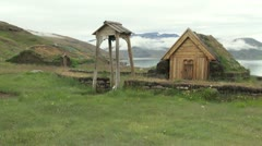 Greenland Eric's wife's church & longhouse 2 Stock Footage