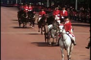 Trooping the Color, 1976, London, England, crushed shot of carriages passing Stock Footage