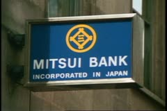 The City, financial district, London, England, bank sign, Mitsu - stock footage