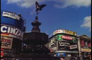 Piccadilly Circus with traffic in London, England, 1976. Stock Footage