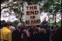 "Speakers Corner, Hyde Park, ""End is at Hand"" sign, London, 1970's Stock Footage"