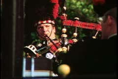 Parks of London, bagpiper, 1976, London, England, 1970's Stock Footage