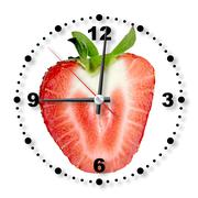 red strawberry as a office clock - stock photo