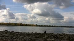 Clouds over the Ob River in autumn Stock Footage