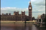 Stock Video Footage of Big Ben and Houses of Parliament, London, England, square on, wide shot