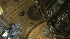 Wonderful Baroque Decoration inside Church - stock footage