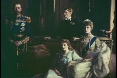 Painting of King George V and family, English monarch, English history Stock Footage