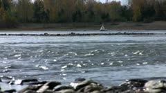 Buoy on the fleeting river Stock Footage