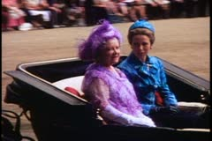 Trooping the Color, 1976, London, England, Queen Mother & Princess Anne - stock footage