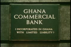 The City, financial district, London, England, bank sign, Bank of Ghana - stock footage