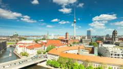 Berlin Skyline City Timelapse with cloud Dynamic in Full HD, German Capital Stock Footage