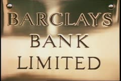 The City, financial district, London, England, bank sign, Barclays - stock footage