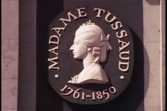 Madame Tussad's Wax Museum, sign, close up, London, England, 1970's Stock Footage