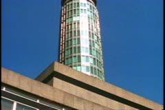 Post Office Tower, London, England, tilt up Stock Footage