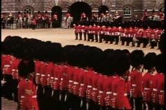 Trooping the Color, 1976, London, England, Coldstream Guards march away Stock Footage