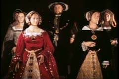 Madame Tussad's Wax Museum, London, 1970's, Henry VIII and six  wives Stock Footage