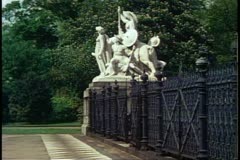 Albert Memorial, detail statue, still, Kensington Gardens, London, England Stock Footage