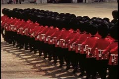 Trooping the Color, 1976, London, England, rear, passing Coldstream Guards Stock Footage