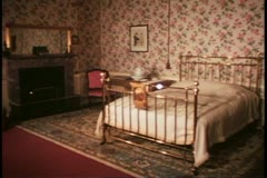 Blenheim Palace, interior, bedroom where Churchill was born, wide shot, still Stock Footage