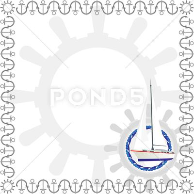 Stock Illustration of Sailing yacht and a steering wheel
