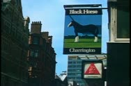 Black Horse Pub Sign,, London, England Stock Footage