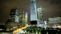 Illuminated time lapse night view 1 WTC, skyscrapers, New York, USA Stock Footage