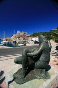 Statue in the port of Jablanac - stock photo