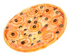 Pizza with tomatoes and olives Stock Photos