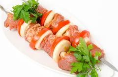 prepared food for shish kebab - stock photo