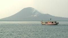 Scenic View Of Anak Krakatau Volcano Indonesia Stock Footage