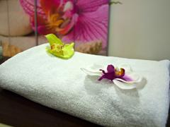 Stock Photo of Decorated towel in wellness