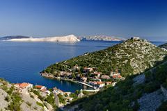 Small Starigrad by Senj and the island Goli otok Stock Photos