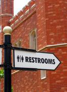 Restroom direction sign Stock Photos