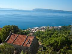 View at small tourist destination in dalmatia - stock photo