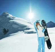 Stock Photo of the snowboarder on snow slope