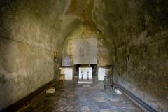Interior of ancient St.Mary Magdalene`s church - stock photo