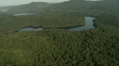 Flight Over the Atlantic Tropical Forest, river and mountain Stock Footage