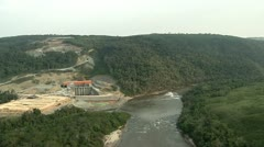 Aerial Shot Of A Hydroelectric Power Station Dam Stock Footage