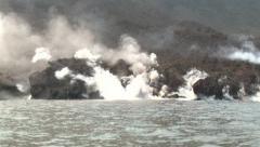 Lava Flow Water Sea Entry Explosive Activity Anak Krakatau Volcano Stock Footage